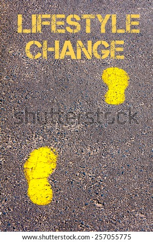 Yellow footsteps on sidewalk towards Lifestyle Change message.Conceptual image