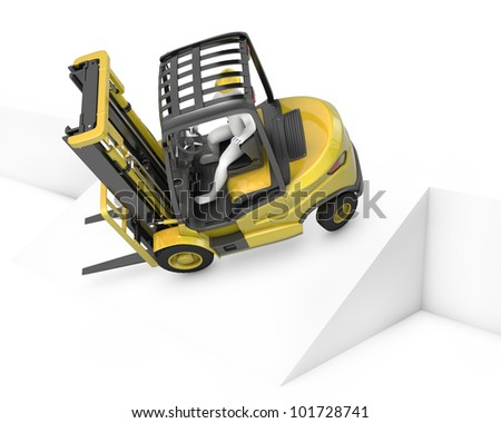 Yellow fork lift truck falling after turning on slope, isolated on white background - stock photo