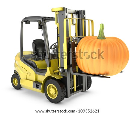 Yellow fork lift truck lifts orange pumpkin, isolated on white background - stock photo