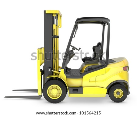 Yellow fork lift truck side view, isolated on white background - stock photo