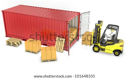 Yellow fork lift truck unloads red container, isolated on white background - stock photo