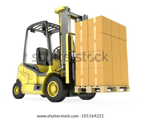 Yellow fork lift truck with big stack of carton boxes, isolated on white background - stock photo