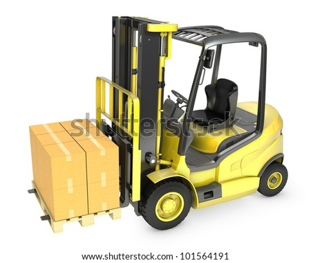 Yellow fork lift truck with stack of carton boxes, isolated on white background - stock photo