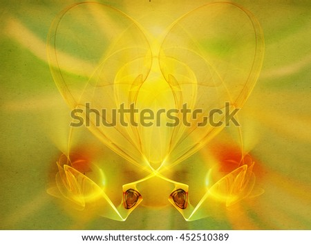 Yellow fractal on background of old paper - stock photo
