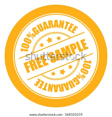 Yellow Free Sample 100% Guarantee Campaign Promotion, Product Label, Infographics Flat Icon, Sign, Sticker Isolated on White Background  - stock photo