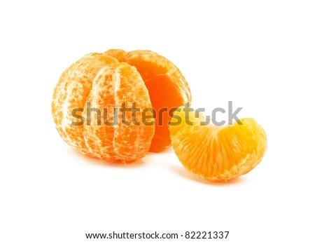 yellow fresh juicy mandarin - stock photo