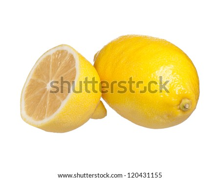 Yellow fresh lemon and half isolated on a white background - stock photo