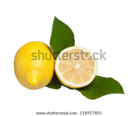 Yellow fresh lemon with half and leaves isolated on a white background - stock photo