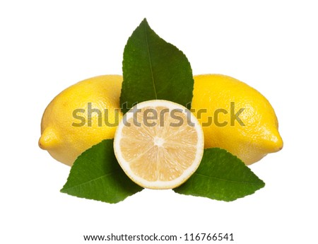 Yellow fresh lemons with half and leaves isolated on white - stock photo