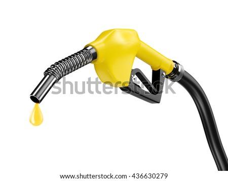 Yellow fuel pump nozzle with petrol drop oil. Bio fuel concept. 3d rendering - stock photo