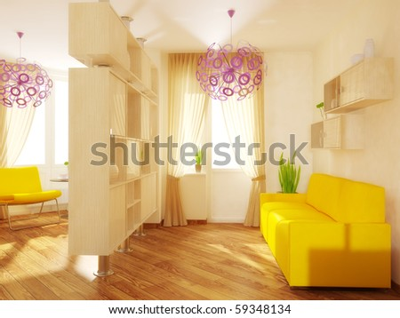 yellow furniture in modern room with sunlight - stock photo
