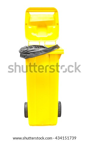 yellow Garbage bins isolated on white