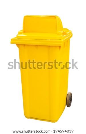 yellow garbage bins isolated white background - stock photo