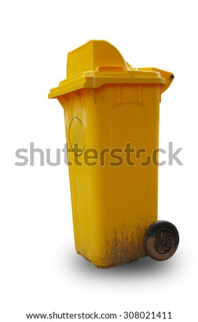 Yellow garbage plastic bins isolated on white background. - stock photo