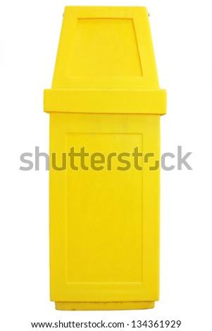 Yellow garbageon white background  - bin isolated - stock photo