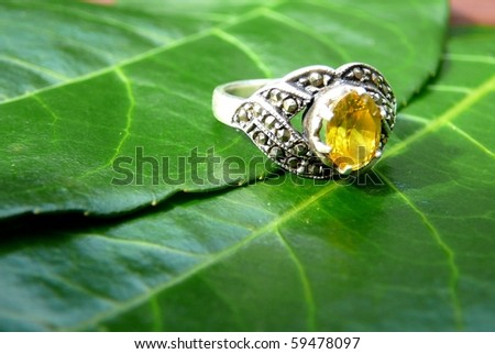 Yellow Gemstone Ring with Green Leaves - stock photo