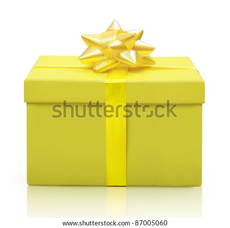 yellow gift box - stock photo