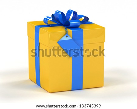 Yellow gift box with blue ribbon 3d render - stock photo