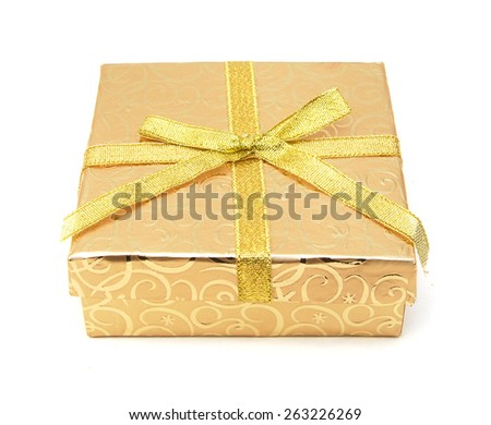 yellow gift box with lid on white background  - stock photo