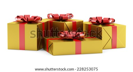 yellow gift boxes with red ribbons isolated on white background - stock photo
