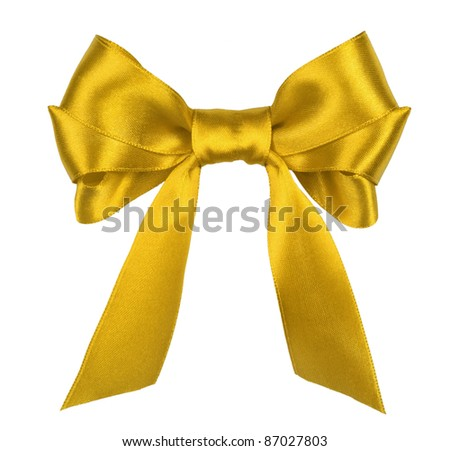 yellow gift satin ribbon bow on white background - stock photo