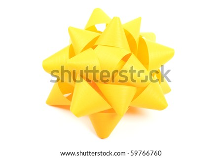 Yellow gift wrapping bow isolated on white background. - stock photo