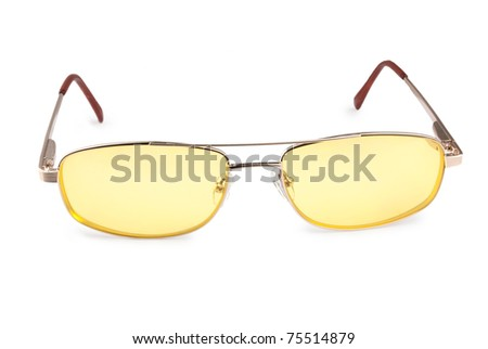 yellow glasses isolated on a white background - stock photo