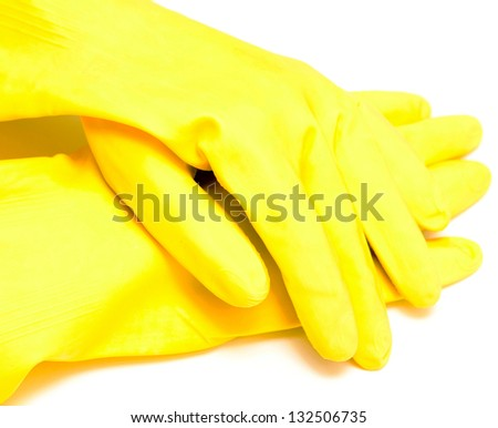 yellow glove isolated on white