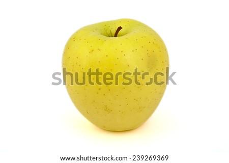 Yellow Golden apple on white background - stock photo