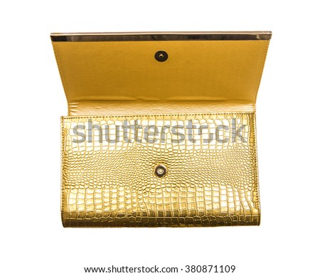 yellow golden clutch isolated on white background  - stock photo