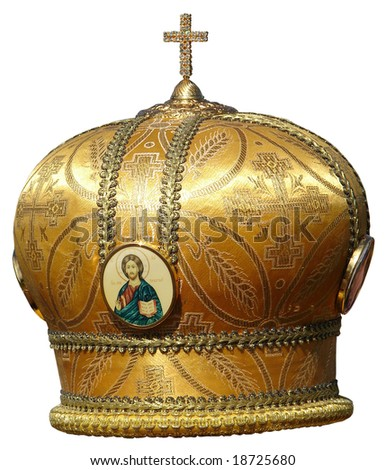 Yellow golden mitre - solemn headgear of the orthodox bishop - stock photo