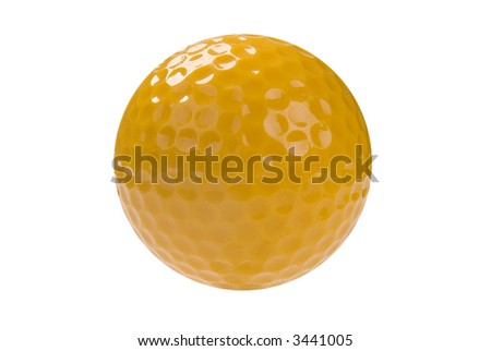 yellow Golf ball close-up isolated over a white background - stock photo