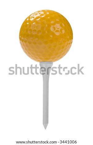yellow Golf ball close-up on tee isolated over a white background - stock photo