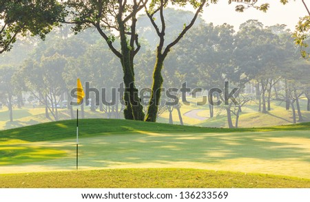 yellow golf flag on the green grass with group of trees background - stock photo