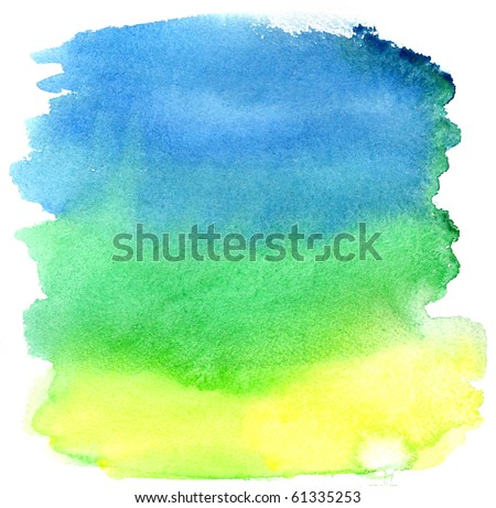 Yellow, green and blue watercolor brush strokes. Background for design - stock photo