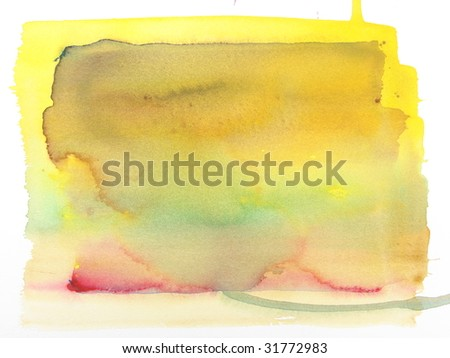 yellow green and red abstract watercolor background - stock photo