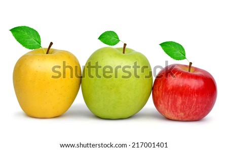 Yellow, green and red apple isolated on white background