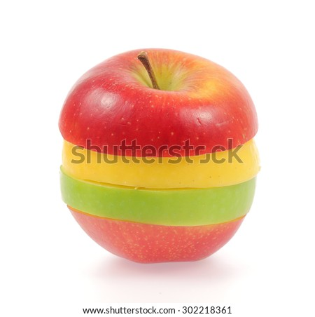 Yellow green and red apples isolated on white background