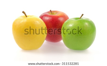 Yellow green and red apples isolated on white background - stock photo