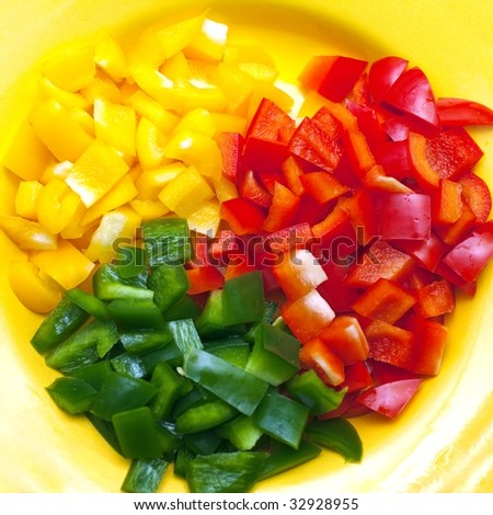 Yellow, green and red sliced bell pepper on plate