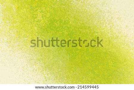 yellow green background with bright color splash design element angled from corner to corner on white, distressed old vintage textured paper with yellow and green crackled painted center - stock photo