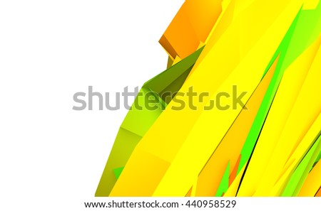 Yellow green Color geometric pattern. 3d render illustration. Copyspace white background - stock photo