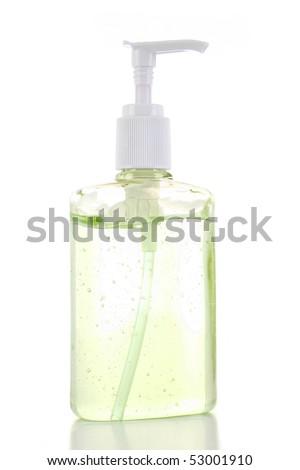 Yellow Green Gel Pump Dispenser Bottle - stock photo