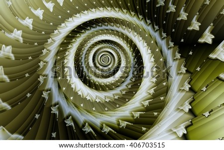 Yellow-green spiral fractal abstract background - stock photo