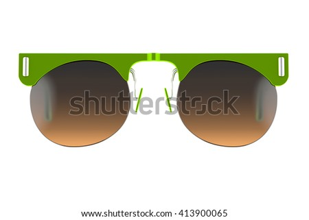 Yellow green sunglasses isolated on white background. With clipping path. 3D render - stock photo