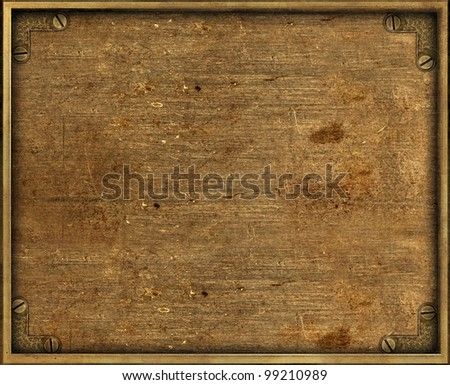 Yellow grunge brass background plate with frame and screws - stock photo