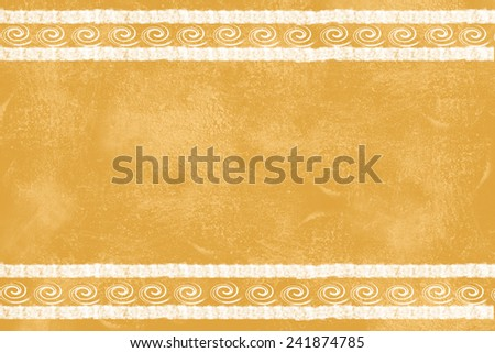 Yellow grunge texture showing wall in Mediterranean style. White lines filled by spirals - stock photo