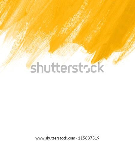 Yellow hand painted brush stroke background - stock photo