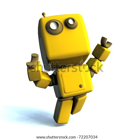 Yellow Happy 3D robot isolated on white background - stock photo