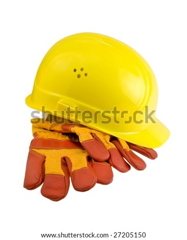 Yellow hard hat and  protective gloves isolated. Clipping path included. - stock photo